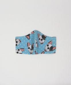 mascherina di stoffa lavabile bambini dai 7 agli 11 anni cani azzurri
