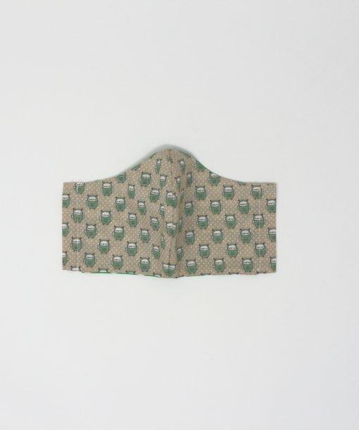 mascherina di stoffa lavabile bambini dai 7 agli 11 anni gufi