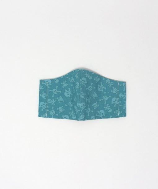 mascherina di stoffa lavabile bambini dai 3 ai 6 anni teschi verdi