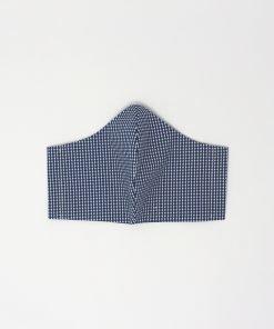 mascherina di stoffa lavabile da uomo con righe e pallini blu