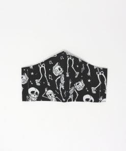 mascherina di stoffa lavabile da uomo con scheletri