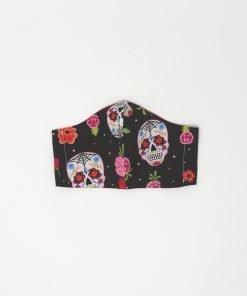 mascherina di stoffa lavabile da donna con teschi messicani e rose