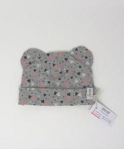 cappellino cotone cuori grigio 6-9 mesi