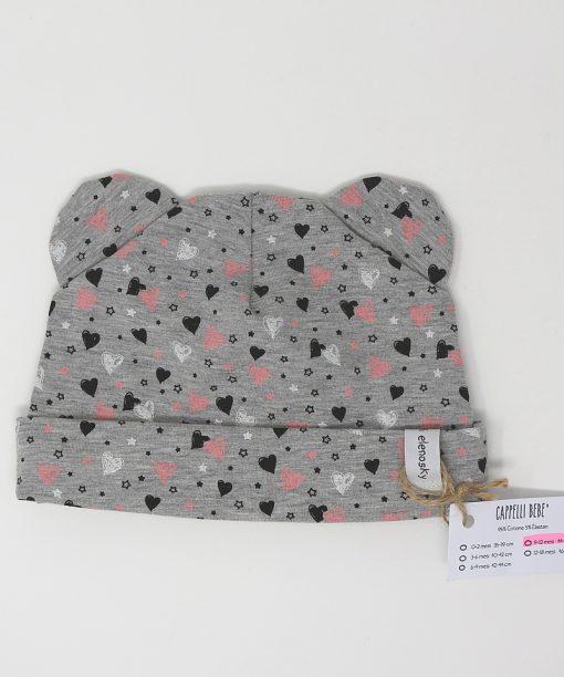 cappellino cotone cuori grigio 9-12 mesi