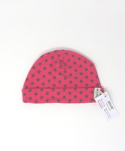 cappellino cotone fucsia stelle grigie 6-9 mesi