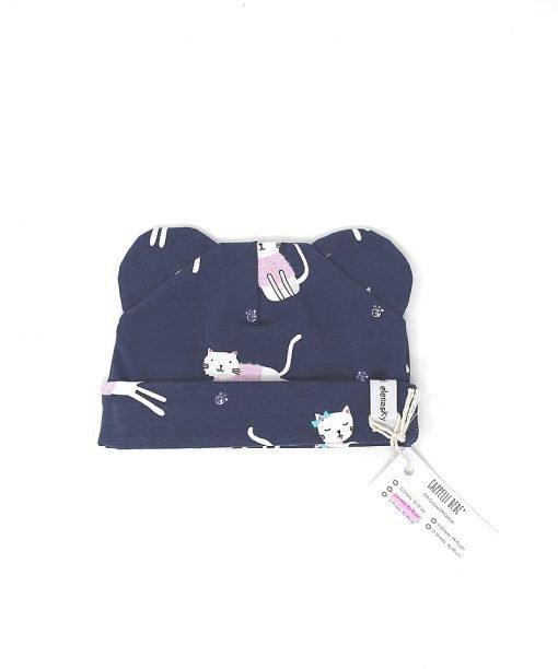 cappellino cotone gatti blu 3-6 mesi