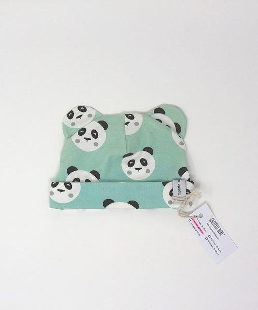 cappellino cotone panda verdi 3-6 mesi