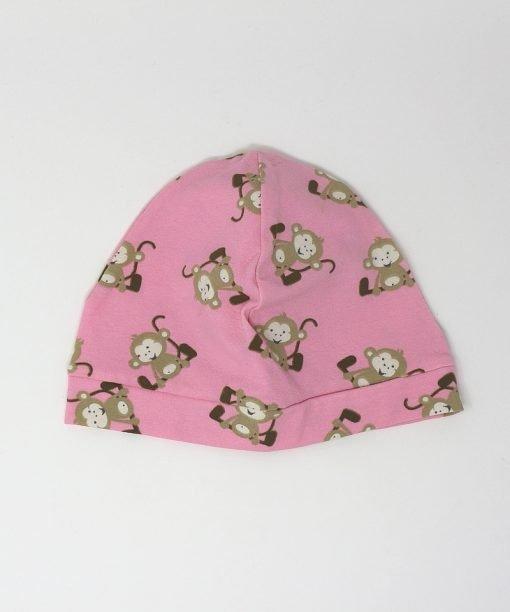 cappellino cotone scimmiette rosa 6-12 mesi