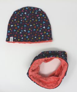 cappellino e scaldacollo invernale cuori