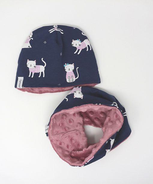 cappellino e scaldacollo invernale gatti blu