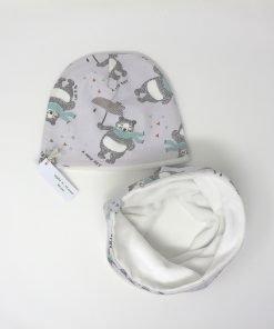cappellino e scaldacollo invernale orsi 46 bianco