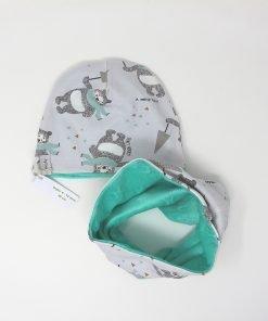 cappellino e scaldacollo invernale orsi 46 verde