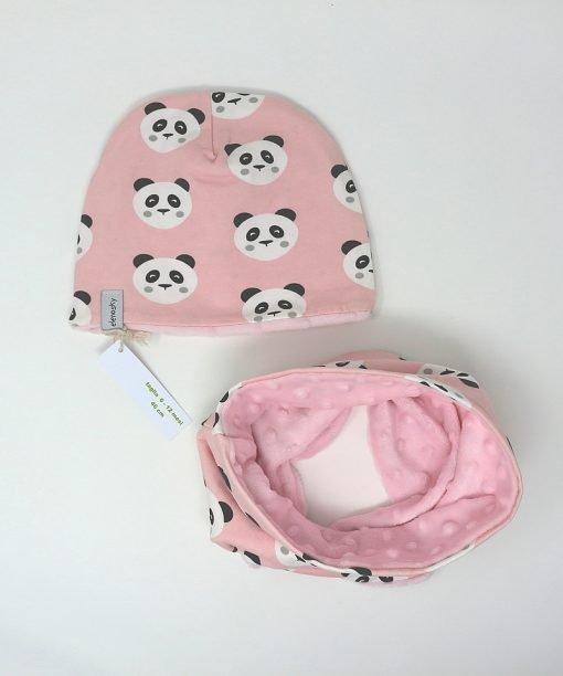 cappellino e scaldacollo invernale panda rosa