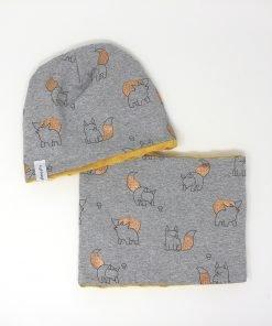 cappellino e scaldacollo invernale volpi