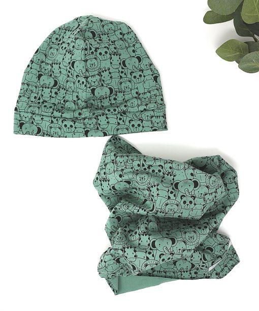 cappellino e scaldacolli animaletti verdi