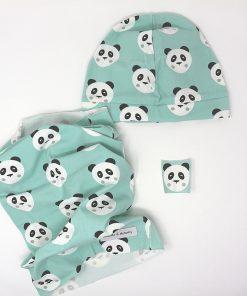 cappellino e scaldacollo panda verdi