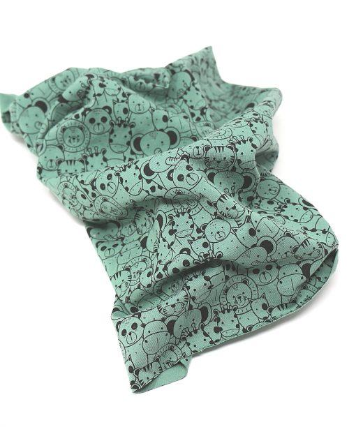 scaldacollo cotone animaletti verde